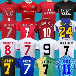 맨체스터 레트로 1992 07 08 94 98 99 86 88 1990 2002 유나이티드 축구 유니폼 v.nistelrooy 남자 Giggs Scholes Beckham Ronaldo Cantona Solskjaer