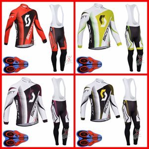 SCOTT Team Mens Cycling Long Sleeve Jersey bib Pants sets quick dry Road Bicycle Uniform Outdoor Sportswear S091523