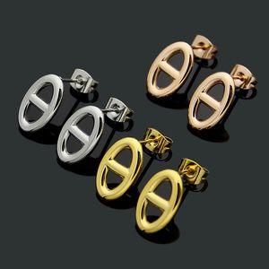 Europe America Simple Style Lady Women Titanium Steel H Initials Stud Earrings 3 Color