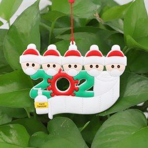 Superviviente del ornamento personalizado de la Navidad de la familia 2 3 4 5 6 7 lavados a mano de resina Decoración enmascarado árbol de Navidad colgando colgante LJJA2456