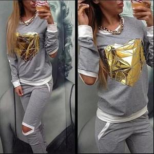 2020 Hot Gold Heart Hollow Out Lady Tracksuit Women Hoodies Sweatshirt Pant Sportwear Costumes Track suit 2 Piece Set