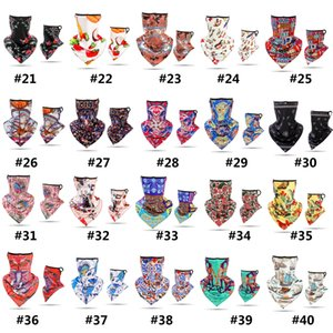 New 40 Styles Printing Riding Motorcycle Face Towel Bandana Dust Face Mask hanging Ear Triangle Scarf Magic Headband Party Mask GWB1916