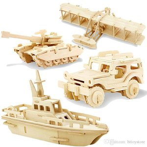 ht 1pc 3D Wood Puzzles Children Adults Vehicle Puzzles Wooden Toys Learning Education Environmental Assemble Toy Educational Games