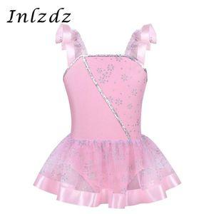 Kids Girls Ballet Leotard costume Ballerina Tulle Dancewear Gymnastic Swimsuit for Dancing with Skirt Children Leotard Dress