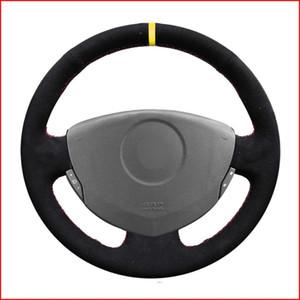 Black Suede Steering Wheel Cover for Clio 2 2001 2002 2003 2004 2005 Dacia Sandero 2008 2009 2010 2011 2012