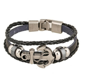 Fashion braid Jewelry Alloy Leather Bracelet Men Casual PU Woven Vintage Punk Bracelet