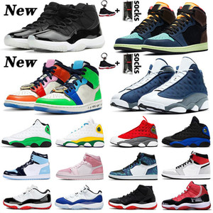 sapatos Nike Air Jordan Retro JUMPMAN Basketball LOW WMNS CONCORD 11 11s Shoes New Playground 13 Flint 13s Womens Mens 1 Fearless 1s Travis Scott 2019 Bred High Sneakers
