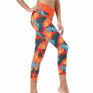 2020 2020 Plant Print Skinny Sports Pants Yoga Fitness Trousers Waist Wrinkled Trousers iVSj#