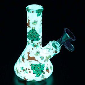 """5"""" tube de silicone motif nouveau design de Noël Lueur dans la fumée de pipe d'eau de base bécher foncé printied bangs en verre"""