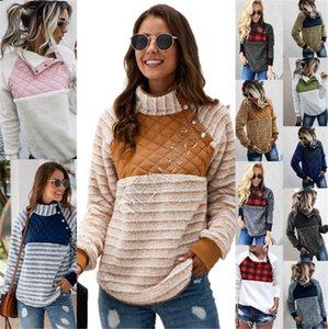 Mulheres velo capuz Buffalo Verifique Sherpa pulôver na moda Oblique Quente Botão Collar Coats Inverno Patchwork Hoodies Jacket Tops D91710