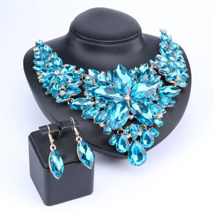 Beautiful Flower Jewellery Bridal Jewelry Set Blue Color Crystal Party Wedding Prom Necklace Earring Set Gift For Women