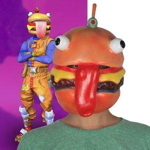 la cabeza de hamburguesa Fortnite máscara cosplay dueño de la tienda de res que rodea la noche Fortaleza de la cabeza de hamburguesa Fortnite máscara cosplay tienda de carne de vacuno propietario surrou