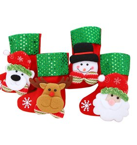 Mini Christmas Hanging Socks Cute Candy Gift Bag Snowman Santa Claus Deer Bear Christmas Stocking Tree Decor Pendant Christmas Socks