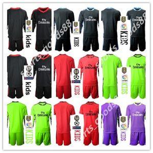 Nuevo 2020 2021 niños Soccers jerseys de manga larga camisa del fútbol del kit de niños 20 21 1 13 NAVAS COURTOIS Portero chicos jóvenes uniformes de fútbol
