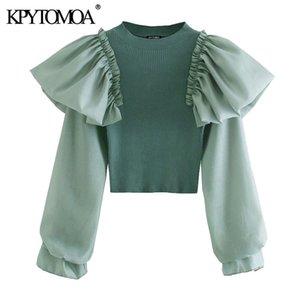 KPYTOMOA Mulheres 2020 tops de manga longa de Moda Ruffle Patchwork recortada camisola de malha Vintage estiramento Magro Feminino Pullovers Chic