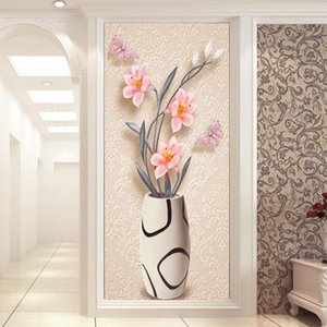 2020 custom any size mural wallpaper European style 3D three-dimensional vase flower wall cloth living room room background wallpaper