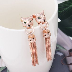 2020 new High quality designer Green eyes CZdiamond long zircon tassel Earrings 18k gold plated panther party jewelry for women