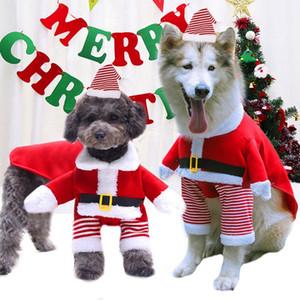 1pcs Santa Pet Köpek Noel Giyim Pamuk Kış Sıcak Coat Köpek Sevimli Kapşonlu Coat ceketler Dış Giyim İçin Hayvan Köpekler Sıcak satış