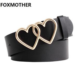 FOXMOTHER Fashion Pu Leather Waist Belt For Women Black Pink Double Heart Buckle Female Ladies Belts Dress Cinturones Para Mujer