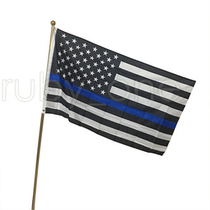 90*150cm BlueLine USA Police Flags 3x5 Foot Thin Blue Line USA Flag Black White And Blue American Flag RRA3546