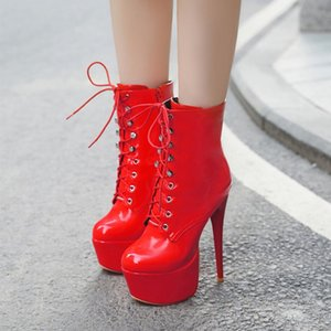 PXELENA Sexy Pole Dance Nightclub Ankle Boots Women Super High Heels Stiletto Lace Up Zip Platform Patent Leather Party Shoes 43