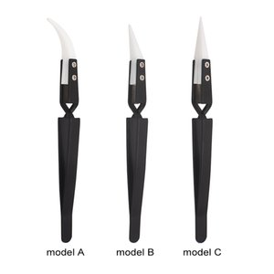Black Ceramic Tweezers Heat Resistant Cross Lock Reverse Automatic Clamp Nipper Forceps Tweezers For E - Cigarette Heating Coil 100pcs