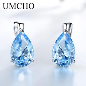 UMCHO Luxury Nano Gemstone Blue Topaz Clip Earrings For Women 925 Sterling Silver Clip On Earrings Water Drop Fine Jewelry Gift 200919
