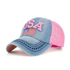 Parche de la bandera de Estados Unidos dril de algodón de malla gorras de béisbol Casual Hombres Mujeres Sports Net casquillo al aire libre parasol Cap Gorra Gorra para el sol de la playa