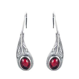 Retro Women 925 Silver Red Ruby Ear Hook Dangle Drop Leaf Earrings Proposal Gift