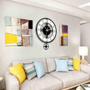 Oscilante silencioso reloj de pared grande del diseño moderno con pilas de cuarzo relojes colgantes Decoración de cocina