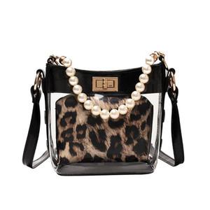 ISHOWTIENDA женщины ретро Pearl леопардовой сумка Кожа Crossbody Пляжной сумка прозрачные Сумки Сумки для женщин 2020