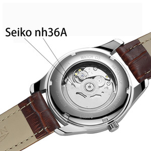 GUANQIN Uomo Automatico Meccanico Watch Tungsteno acciaio luminoso Orologi Data calendario giapponese della vigilanza del movimento con cinturino in pelle