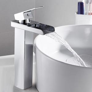Cuenca del grifo mezclador grifos del fregadero cuarto de Tall sola palanca cromada baño grifo del lavamanos Lavar agua fría y caliente HOTBEST