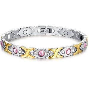 2020 new Titanium steel fashion lady Pink Crystal Stone Magnet Health Bracelets for Women Bio Energy femme Gift SBRM-074