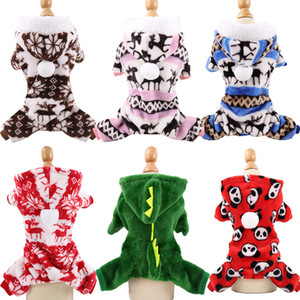 Dog Clothes Pajamas Fleece Jumpsuit Winter Dog Clothing Four Legs Warm Pet Outfit Small Dog Christmas Snowflake Deer Elks Costume Apparel