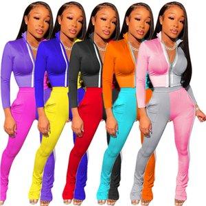 Mulheres Treino Dois Set Pieces costura contrastante Mold cores combinando do estilo Zipper manga comprida Casual Calças Sports senhoras novas roupas