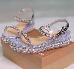 Designer Femmes célèbres Wedges Sexy Ladies Gladiator sandales femmes Goujons hauts talons Marque-luxe Rouge Chaussures Bas de soirée de mariage EU43, avec la boîte