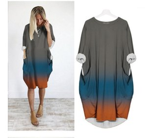 Sleeve Dress Fashion Designer New Casual Loose Round Neck Printing Dress Female Plus Size Pocket Dresses Gradient Women Long
