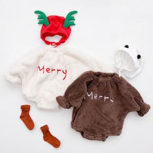 Unisex Baby Bodysuit Boys Girls Fleece Winter Fleece Jumpsuit Soft Cute Letter Print Onesie Newborn Infant Bodysuits