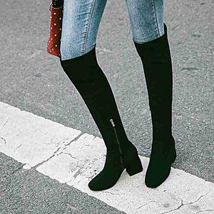 ASILETO Plus size 34-43 Women boots knee High Thick Heel boots Botas feminino Flock botte mujer Zipper Slip-on thigh A775