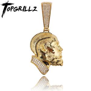 Topgrillz r.i.p nipsey hussle colar pingente com cadeia de tênis gelado fora bling cúbico zircão brilhante masculina jóias hip hop