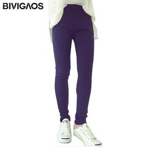 Bivigaos Fall Winter Womens Clothing Thick Fleece Warm Jeans Elastic Denim Leggings Slanting Pocket Pencil Pants Women Jeggings