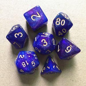 Polyhedral 7pcs set Resin Glitter D4 D6 D8 D10 D12 D20 for Board Game entertainment Dice 8 Colors