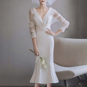 White dress ladies banquet high-end evening dress usually wear small dress fairy light