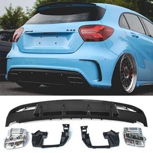 Автомобильный задний бампер диффузор спойлера с выхлопными для Mercedes Benz A Class A180 A200 A45 AMG W176 Хэтчбек 4 двери 13-18 ABS
