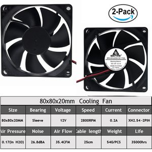 Gdstime 2pcs DC Cooler Sleeve Bearing Fan 12V 24V 80mm 8020 Two Wire 2Pin For Computer Cases And CPU Coolers