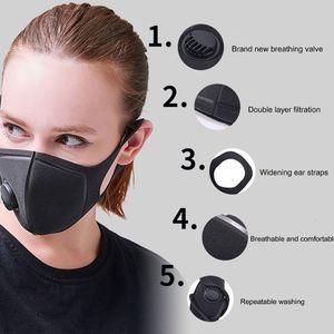 PM2.5 esponja a prueba de polvo reutilizable protector unisex Cara Boca Negro con la respiración Máscaras anchas correas Mascherine lavable respirador
