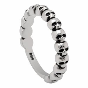 Joyería del anillo del cráneo del mal cgjxs CZ de la vendimia color plata del punk Pave Esqueleto Diseño redondo Bandas dedo anular para los hombres regalo de las mujeres retro del partido