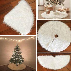 Lungo Peloso Albero di Natale bianco Gonna peluche Furry Xmas Tree Mat Snow Carpet Coperte rotonda copertura pavimento di natale decorazioni ornamenti LY9271