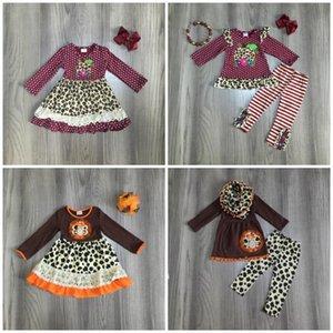 Thanksgiving baby girls boutique children clothes wine leopard pumpkin brown turkey cotton dress set ruffles match accessories